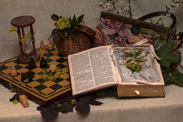 chess and hourglass still life
